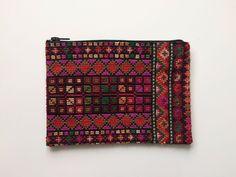 Purse, Clutch, Bag, Wallet. Gaza, Palestine. Cross Stitch, Hand Embroidered. Red