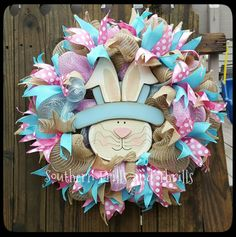 Easter Wreath, Easter Deco Mesh Wreath, Bunny Wreath, Spring Wreath, Deco Mesh Wreath, Burlap Wreath, Easter Decor, Mesh Wreath,  Easter by SouthernThrills on Etsy