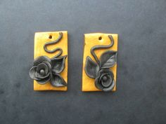 Golden earrings with black roses Black Roses, Golden Earrings, Polymer Clay Creations, Objects