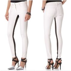 NWT 3x1 jeans W2 black white coated channel midrise crop jeans. 92.5 cotton / 5 pes / 2.5 Lycra.  Has some dirt throughout from store display.  Made in the USA  open to offers 3x1 Jeans Ankle & Cropped