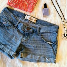 Hollister Denim Shorts Low rise jean shorts. Excellent condition. No rips / stains / tears.  Size 1 (25) Hollister Shorts
