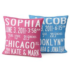 BIRTH ANNOUNCEMENT PILLOWS via Uncommon Goods ($80)