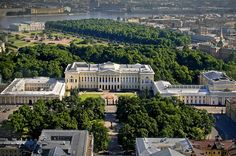 Aerial view of Mikhailovsky Palace in St Petersburg, Russia