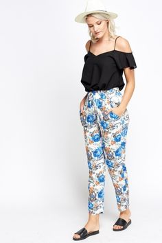 Multi Floral Printed Trousers - BLUE/MULTI - £5 - on Everything5pounds.com - Everything 5 Pounds discount codes here - http://www.voucherix.co.uk/vouchers/everything-5-pounds/