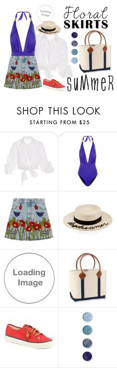 """""""Untitled #3192"""" by lseed87 ❤ liked on Polyvore featuring Johanna Ortiz, Lazul, Gucci, Eugenia Kim, Vineyard Vines, L.L.Bean, Sperry, Terre Mère, floral and florals"""