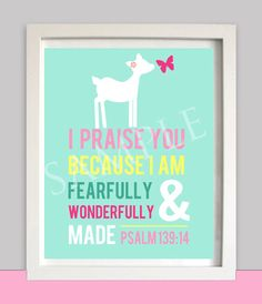 Nursery Wall art  - Woodland - Girl's Room Art - Deer Butterfly - Bible Verse - - Religious - Printable - Psalm 139 - INSTANT Download on Etsy, $9.50