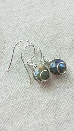 Sterling Silver Labradorite Earrings Wire Wrapped by BlackwoodArts