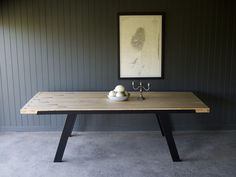 reclaimed maple bowling alley dining table with walnut timber inserts and black powder coated steel legs