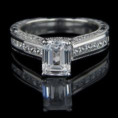 Gwyneth - Antique Solitaire Engagement Ring   MiaDonna Man Made Diamond Solitaire Rings, Engagement Rings   Simulated Diamond Antique Solitaire Engagement Ringshttp://miaco.us/gwyneth #antiqueengagementrings #solitairering
