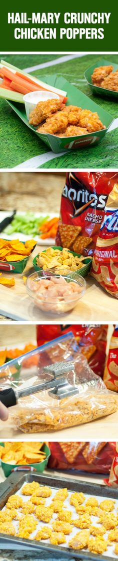 Hail-Mary Crunchy Chicken Poppers! Perfect for the next time you're entertaining guests, and so easy to make using Doritos Nacho Cheese tortilla chips and Fritos Original Corn Chips. Share your best recipe using 2+ @PepsiCo products using #GameDayGrubMatchEntry for a chance to win a $1,500 cash prize and more!  Via @efreedman