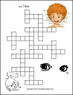 French body parts worksheet. Free printable crossword to practice body parts in french, specifically the names of parts of the head. French Worksheets, Worksheets For Kids, Printable Worksheets, Free Printables, French Language Lessons, French Language Learning, Teaching Spanish, Spelling Activities, Listening Activities