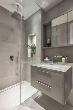 Eaton mews north—guest bathroom modern bathroom by roselind wilson design modern Loft Bathroom, Ensuite Bathrooms, Bathroom Layout, Bathroom Renovations, Small Bathroom, Small Shower Room, Ceramic Tile Bathrooms, Shower Rooms, Bathroom Ideas