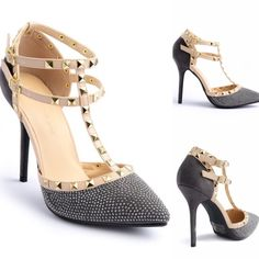 SALEGrey Suede Rhinestone, Stud Rockstar Heels New in the box. Dark gray Rockstar heels with rhinestones on the front and faux suede at the backs with tan straps covered by gold studs. Very unique heels.                                                            PRICE IS FIRM UNLESS BUNDLED.                             ❌SORRY, NO TRADES. Boutique Shoes Heels