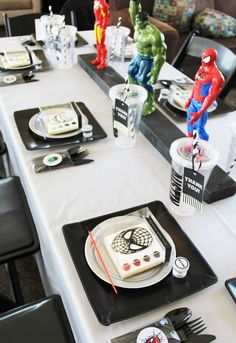 Trendy Birthday Table Decorations For Men Decor Superhero Party Ideas 18th Birthday Party Themes, Birthday Party Decorations For Adults, Superhero Birthday Party, Boy Birthday Parties, 3rd Birthday, Birthday Games, Birthday Crafts, Birthday Month, Birthday Quotes