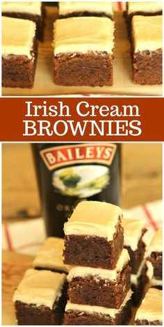 Irish Cream Brownies are a very fudgy brownie recipe with Baileys Irish Cream liqueur baked into them and Irish Cream frosting spread on top too. Irish Cream Brownies Recipe, Fudgy Brownie Recipe, Brownie Recipes, Chocolate Recipes, Free Digital Scrapbooking, Bailey Brownies, Chocolate Brownies, Blonde Brownies, Farmers Market