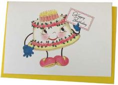 happy cake Cute Birthday Cards, It's Your Birthday, Girl Birthday, Birthday Parties, Happy Birthday, Vintage Birthday Cakes, Cake Supplies, Vintage Cards, Party Time
