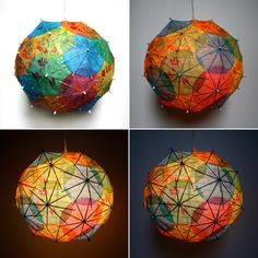 Etsy artist Allison Patrick makes her artichoke-shaped lamps out of recycled books, road maps, and cocktail umbrellas. Paper Umbrellas, Paper Lanterns, Cocktail Umbrellas, Umbrella Lights, Recycled Books, Parasols, Arts And Crafts, Diy Crafts, Light Shades