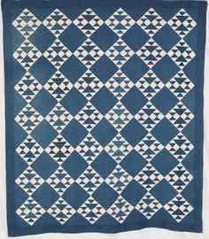 Goose and Goslings, c. 1875, blue and white cotton/calico, 70 x 82, Indiana