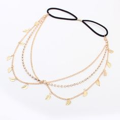 Chain Headband, Zinc Alloy, with Nylon Coated Rubber Rope, Leaf