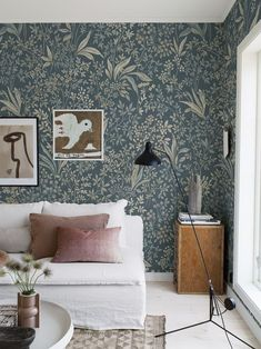 Coloured in a beautiful palette of blues and greens, our Nocturne Mural delights eyes with its artistry. Order a sample online and see how it suits your home. Living Room Sets, Living Room Decor, Living Spaces, Small Living, Modern Living, Green Floral Wallpaper, Interior Wallpaper, Feature Wallpaper Living Room, Blue Feature Wall Living Room