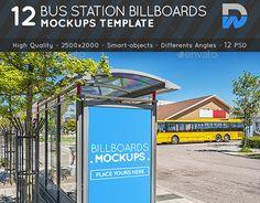 Bus Station Billboards Mock-ups Bus Station, Unique Business Cards, Graphic Design Branding, Billboard, Mood Boards, New Work, Mockup, Behance, Templates