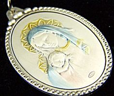"$89 Large Pendant from Italy. Blessed Mother with baby Jesus  STUNNING HEIRLOOM EMBOSSED STERLING SILVER PENDANT! VERY DETAILED!  pastel colors of blue, gold, pink on sterling silver medal that is encased in a silver plated copper casing. Almost 2"" tall , Artisan handcrafted in It"