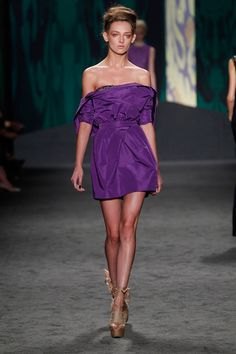 Amethyst silk faille draped portrait collar strapless dress with tulip skirt and jeweled neckline | Photography: Dan Lecca