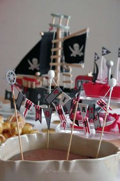 Mini banner at a pirate birthday party! See more party planning ideas at CatchMyParty.com!