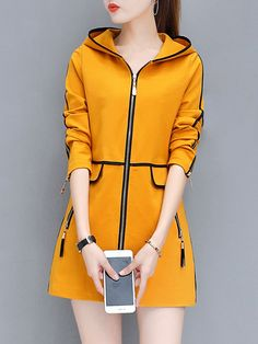 Product Name:Hooded Contrast Trim Zips Pocket CoatEmbellishment:Contrast Trim / Slit Pocket / ZipsMaterial:BlendCollar&neckline:HoodedSleeve:Long SleeveOccasion:Casual / DateSeason:Autumn / WinterPackage Included:Top / 1 Korean Fashion Dress, Kpop Fashion Outfits, Girls Fashion Clothes, Korean Outfits, Girly Outfits, Cute Casual Outfits, Pretty Outfits, Stylish Outfits, Stylish Office Wear