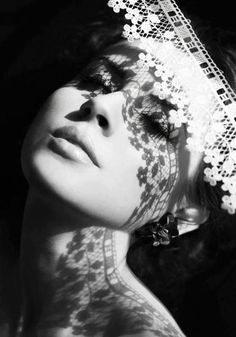 Black & White - lacy shadows -repinned by LA County, California photography studio http://LinneaLenkus.com  #portraiture
