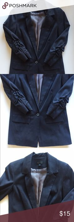 Topshop ruched sleeve long blazer, size 2 Navy blue one button blazer from Topshop, purchased in London. US size 2, euro size 34. Rarely worn. Tailored fit with 3/4 sleeves. Topshop Jackets & Coats Blazers