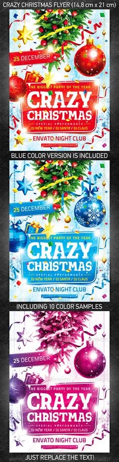 Crazy Christmas Flyer for the New Year's or Christmas party/club event.  You can download this flyer PSD at the following link – http://graphicriver.net/item/crazy-christmas-flyer/1081006?ref=4ustudio   More flyers and posters here: http://graphicriver.net/user/4ustudio?ref=4ustudio