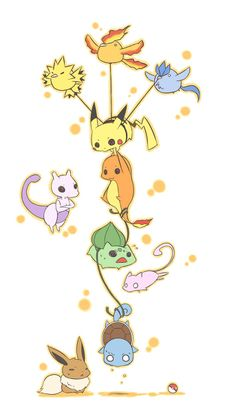 Squirtle Bulbasaur Charmander Mewtwo | bulbasaur, charmander, eevie, illustration, mew, mewtwo