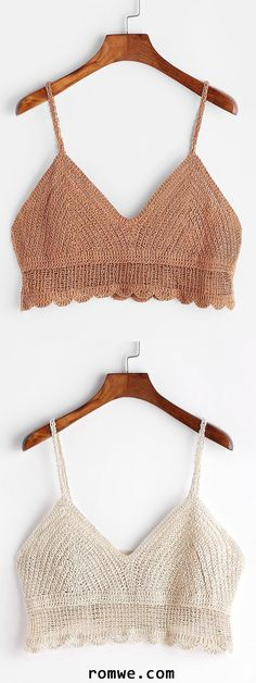 Shop Scalloped Hem Crochet Cami Top at ROMWE, discover more fashion styles online. Crochet Bra, Crochet Bikini Top, Crochet Woman, Crochet Blouse, Crochet Clothes, Crop Tops Crochet, Crochet Summer Tops, Summer Knitting, Knit Tops