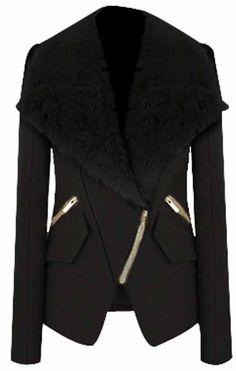 Veste  zippée avec revers en fourrure -Noir  EUR€33.97