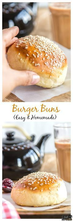 Soft and light homemade burger buns are so much better than store bought. Use them in any burger recipe or simply enjoy them with some warm jam and honey! Find the recipe on www.cookwithmanali.com