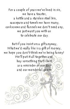 Wedding Money Poem Cards. Various design available, perfect for slipping into the envelope with your invitation. Choice of 6 poems.