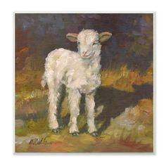 """The Stupell Home Decor Collection 12 in. x 12 in. """"""""Soft and Sweet Baby Lamb and Shadow Oil Painting"""""""" by Jerry Cable Wood Wall Art, Multi-colored Sheep Paintings, Animal Paintings, Wood Wall Art, Framed Wall Art, Oil Painting Frames, Sheep Art, Baby Lamb, Thing 1, Detail Art"""