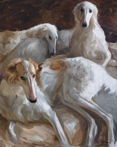 Extra large oil painting with three borzois (alla prima) Borzoi Dog, Whippet, Russian Wolfhound, Bunny Painting, Painting Flowers, Wow Art, Realism Art, Animal Paintings, Pet Portraits