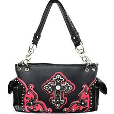Concealed Carry Rhinestone Cross Handbag, Floral Tooling