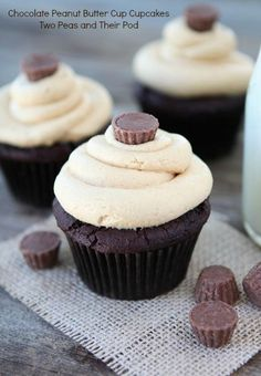 Chocolate Peanut Butter Cup Cupcake Recipe on twopeasandtheirpod.com Chocolate cupcakes with peanut butter frosting AND a peanut butter cup inside!