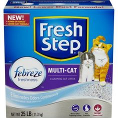 Fresh Step Multi-Cat with Febreze Freshness, Clumping Cat Litter, Scented, 25 Pounds, Gray