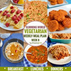Slimming Eats Vegetarian Weekly Meal Plan - Week 8 - Slimming World - all you need to do is cook and enjoy the food.