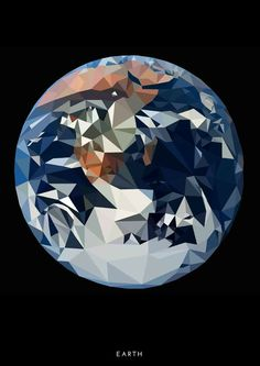Low Poly Art Poster Planet Earth by FussCreative on Etsy