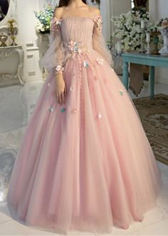 pretty dresses Off-the-shoulder wedding dress long sleeves Prom Dresses Unique Prom Dress Long Evening Dresses strapless party dress - shuiruyan Prom Dresses Long With Sleeves, Unique Prom Dresses, Long Wedding Dresses, Formal Evening Dresses, Pretty Dresses, Beautiful Dresses, Tulle Wedding, Cool Dresses, Evening Gowns With Sleeves