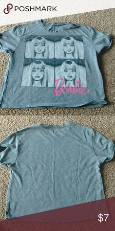 Barbie crop top! Light grey with Barbie on the front. Soft and comfy. Great condition! Barbie Tops Crop Tops