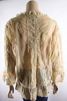 Coldwater-Creek-XL-Sheer-Nude-Lace-Beige-Romantic-Victorian-Blouse-Top