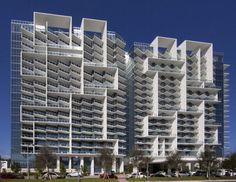 W Hotel South Beach: Exteriors Unique Architecture, Facade Architecture, Interesting Buildings, Beautiful Buildings, Facade Design, Exterior Design, W Hotel South Beach, Miami Beach, Residential Building Design