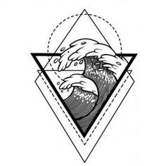 Water Waves Water Sacred Geometry Frame Stock-Vektorgrafik (Lizenzfrei) 767958829 - Water waves in the water with sacred geometry frame. Boho print, poster, t-s - Tattoo Grafik, Mystic Symbols, Wave Tatto, Framed Tattoo, Ocean Tattoos, Triangle Art, Sacred Geometry Tattoo, Traditional Tattoo, Traditional Art