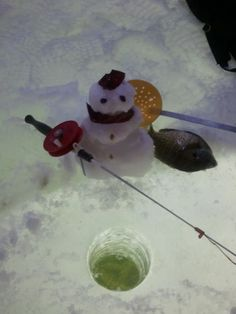 snowman ice fishing.... Ice fishing: the only good thing about winter